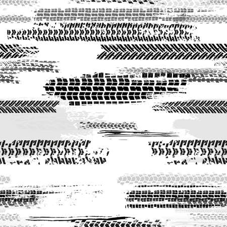Automobile and motorcycle tire tracks seamless pattern. Grunge automotive addon useful for poster, print, brochure and leaflet background design. Editable vector illustration in monochrome colors. Illustration