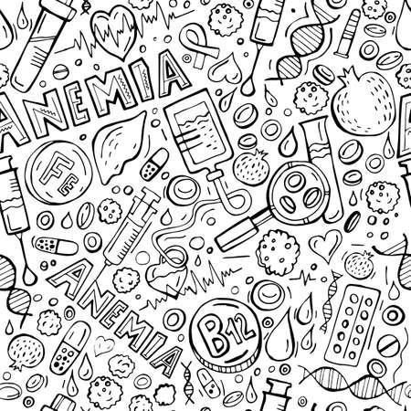 Creative anemia seamless pattern in doodle style. Hand drawn vector illustration in black color isolated on white background. Medical, healthcare and educational concept. Illustration