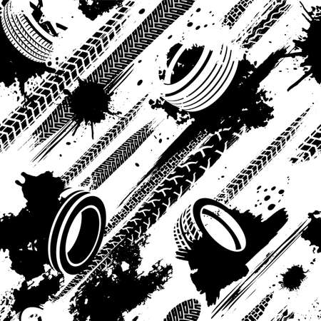 Automobile and motorcycle tire tracks seamless pattern. Grunge automotive addon useful for poster, print, brochure, leaflet background design. Editable vector illustration in black and white colors.