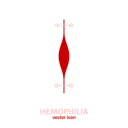 Hemophlia disease icon. Editable vector illustration in pink and red colors isolated on white background. Medical, health care and educational concept useful for logotype, infographic or print design