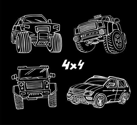 Hand drawn offroad 4x4 cars in creative doodle style. Off-road adventure element in white color useful for T-shirt, poster or print design. Editable vector illustration isolated on black background.