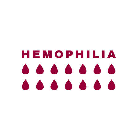 Hemophlia vector image. Editable vector illustration in dark red color isolated on white background. Medical, health care and educational concept useful for logotype, infographic or print design Illustration