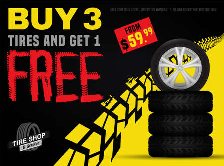 Vector automotive sale out banner template. Grunge tire tracks background for landscape poster, digital banner, flyer, booklet, leaflet design. Editable graphic image in black, yellow and red colors Banco de Imagens - 127093424