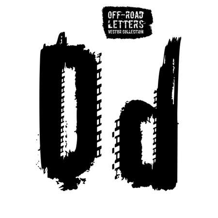 Grunge tire letter D. Unique off road lettering in a black colour isolated on a white background. Editable vector illustration. Grunge typography useful for automotive poster, print, leaflet design. Illustration