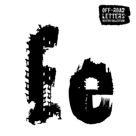 Grunge tire letter E. Unique off road lettering in a black colour isolated on a white background. Editable vector illustration. Grunge typography useful for automotive poster, print, leaflet design. Illustration