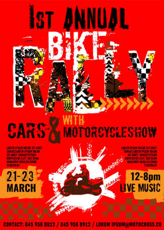 Bike Rally. Extreme off-road adventure. Vintage style. Vertical vector illustration with unique hand drawn image in red, orange and black colours useful for retro poster, print and flayer design.