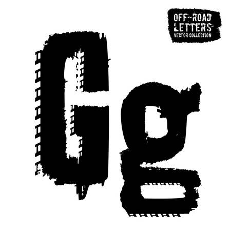 Grunge tire letter G. Unique off road lettering in a black colour isolated on a white background. Editable vector illustration. Grunge typography useful for automotive poster, print, leaflet design. Vetores