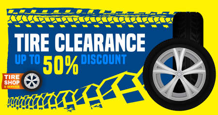 Vector tire sale out banner template. Grunge tire tracks background for landscape poster, digital banner, flyer, booklet, leaflet design. Editable graphic image in blue, white and yellow colors