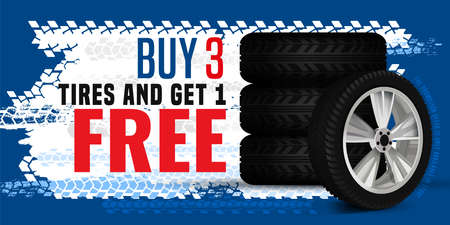 Vector tire sale out banner template. Grunge tire tracks background for landscape poster, digital banner, flyer, booklet, leaflet design. Editable graphic image in blue, white and red colors
