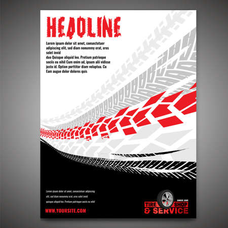 Vector automotive banner template. Grunge tire tracks background for portrait poster, digital banner, flyer, booklet, brochure and web design. Editable graphic image in black, white, grey, red colors Ilustração