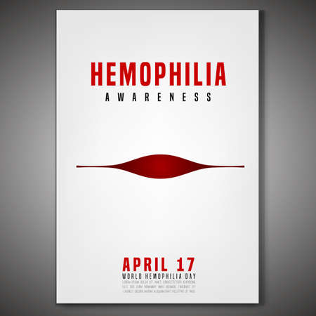 April 17 - World hemophlia day. Vertical poster, print or leaflet creative design. Editable vector illustration in red, black and white color. Medical, healthcare and educational concept