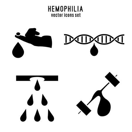 Hemophlia pictograms set. Editable vector illustration in black color isolated on white background. Medical, healthcare and educational concept useful for logotype, sign or event symbol creating