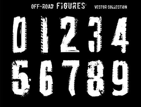 Figuras de neumáticos de grunge. Letras únicas todoterreno en color blanco aisladas sobre fondo negro. Ilustración vectorial editable. Tipografía grunge útil para carteles automotrices, impresión, diseño de folletos.