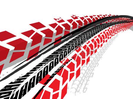 Vector automotive banner template. Grunge tire tracks background for portrait poster, digital banner, flyer, booklet, brochure and web design. Editable graphic image in black, white, grey, red colors Illustration