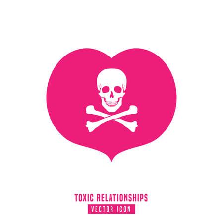 Signe de relations toxiques. Illustration vectorielle modifiable en couleur rose et blanche. Concept de communication, de psychologie et de comportement des personnes utile pour la conception de pictogrammes, logotypes, icônes, symboles ou affiches. Logo
