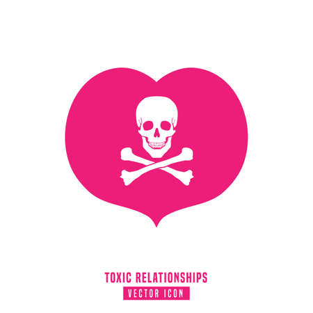 Toxic relationships sign. Editable vector illustration in pink and white color. Communication, psychology and people behavior concept useful for pictogram, logotype, icon, symbol or poster design.