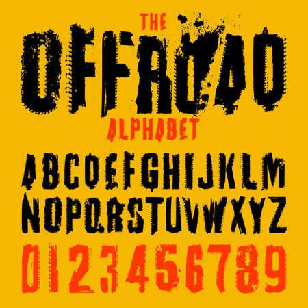 Lettere e cifre della gomma di lerciume. Scritta fuoristrada in colore nero isolato su sfondo giallo. Illustrazione vettoriale modificabile. Tipografia grunge utile per poster automobilistici, stampa, design di volantini