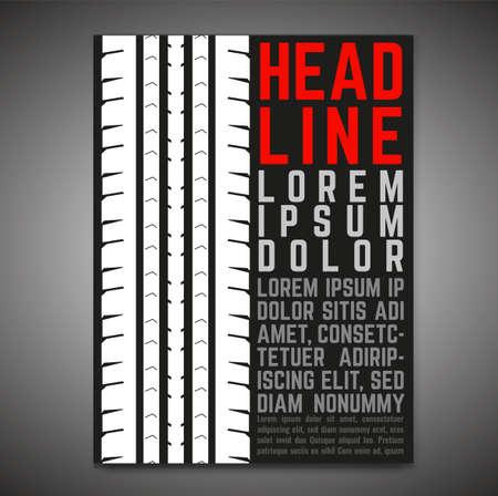 Vector automotive banner template. Grunge tire tracks background for portrait poster, digital banner, flyer, booklet, brochure and web design. Editable graphic image in black, white, grey colors Illusztráció