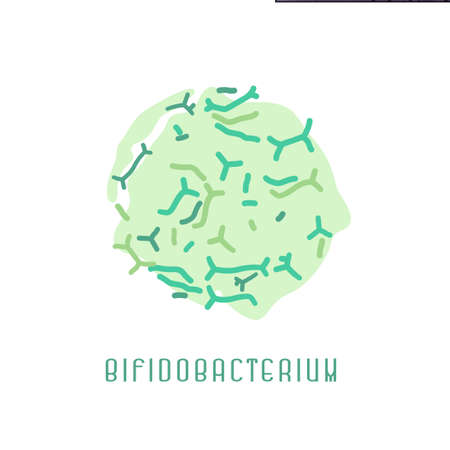 Icon with bifidobacterium. Good bacterial flora. Intestinal microflora. Editable vector illustration in green colors isolated on white background. Medical, healthcare and scientific concept.