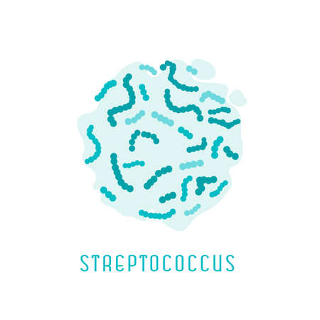 Streptococcus pyogenes. Gram-positive cocci. Editable vector illustration in blue colors isolated on white background. Medical, healthcare and scientific concept. Illustration