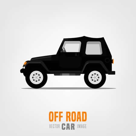 Off road car image in modern style. Vector illustration useful for print, poster, banner, T-shirt design. Editable graphic element in orange, black, grey colors isolated on light grey background Illustration