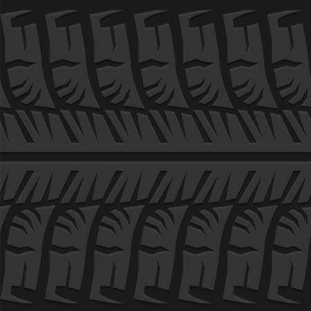 Illustrazione di vettore di tracce di pneumatici a motore. Modello automobilistico senza cuciture utile per la progettazione di sfondi di poster, stampa, flyer, libri, opuscoli, brochure e volantini. Immagine grafica modificabile in colore grigio.