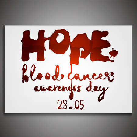 May 28 - Blood cancer day. Horizontall poster with creative lettering. Editable vector illustration in vivid red color isolated on white background. Scientific, medical and leukemia awareness concept.