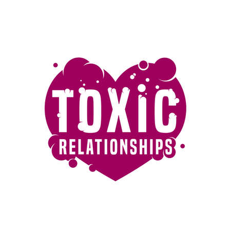 Toxic relationships sign. Editable vector illustration in violet and white color. Communication, psychology and people behavior concept useful for pictogram, logotype, icon, symbol or poster design. Illustration