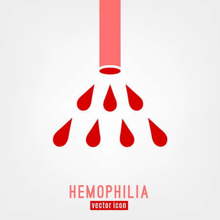 Hemophlia unique logo design. Editable vector illustration in bright red color isolated on white background. Medical, health care, educational concept useful for logotype, infographic, print creating Illustration