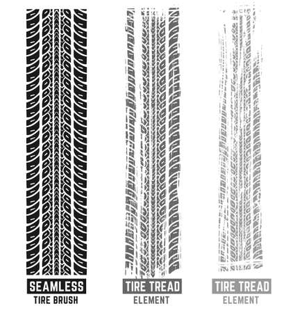 Automobile and motorcycle tire tracks elements with seamless brush. Grunge automotive addon useful for poster, print, brochure and leaflet background design. Editable vector illustration in monochrome colors.