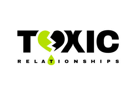 Toxic relationships sign. Editable vector illustration in green and black color. Communication, psychology and people behavior concept useful for heading, logotype, icon, symbol or poster design.