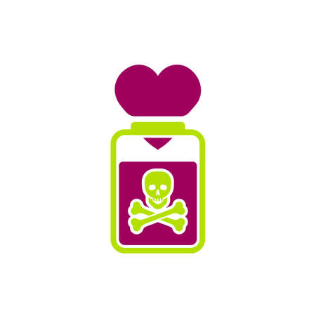Toxic relationships sign. Editable vector illustration in green and red color. Communication, psychology and people behavior concept useful for heading, logotype, icon, symbol or poster design. Illustration