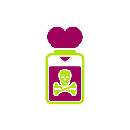 Znak toksycznych relacji. Edytowalne ilustracji wektorowych w kolorze zielonym i czerwonym. Koncepcja komunikacji, psychologii i zachowania ludzi przydatna do projektowania nagłówków, logotypów, ikon, symboli lub plakatów.