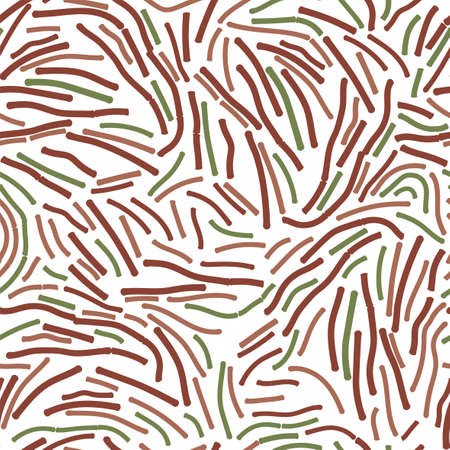 Lactobacillus Bulgaricus seamless pattern. Intestinal bacteria. Gut flora or microbes. Vector illustration in green, brown colors isolated on white background. Medical, healthcare, scientific concept