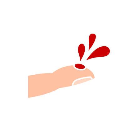 Icono de la enfermedad de la hemoflia. Ilustración vectorial editable en colores beige y rojo aislado sobre fondo blanco. Concepto médico, sanitario y educativo útil para diseño de logotipo, infografía o impresión.