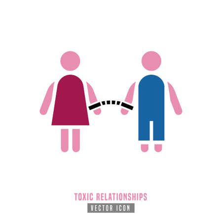Toxic relationships sign. Editable vector illustration in pink and blue color. Communication, psychology and people behavior concept useful for pictogram, logotype, icon, symbol or poster design. Illustration