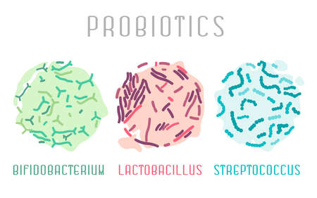 Probiotic bacteria icon, Lactobacillus, bifidobacterium, streptococcus. Food and healthy nutrition  concept. Editable vector illustration in pink, green, blue colors isolated on a white background.