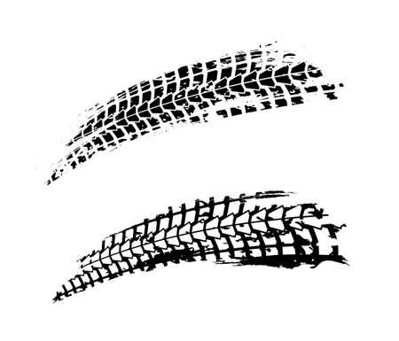 Illustrazione di vettore di tracce di pneumatici per moto. Elemento di sfondo automobilistico grunge utile per la progettazione di poster, stampe, opuscoli, brochure e volantini. Immagine grafica modificabile nei colori bianco e grigio.