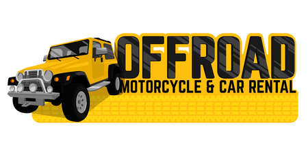 Off road car and motorcycle rental banner in modern style. Horizontal vector illustration useful for print, poster, banner, T-shirt design. Editable graphic element in yellow, black, white colors