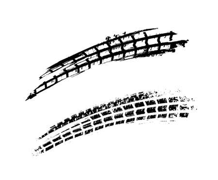Motorcycle tire tracks vector illustration. Grunge automotive background element useful for poster, print, book, booklet, brochure and leaflet design. Editable graphic image in white and grey colors.