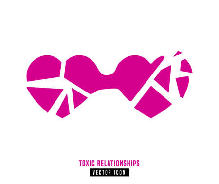 Toxic relationships sign. Editable isolated vector illustration in pink color. Communication, psychology and people behavior concept useful for pictogram, logotype, icon, symbol or poster design. Illustration