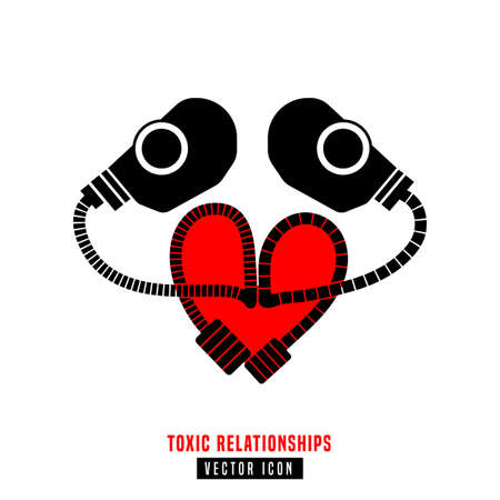 Toxic relationships sign. Editable isolated vector illustration in black and red color. Communication, psychology, people behavior concept useful for pictogram, logotype, icon, symbol or poster design