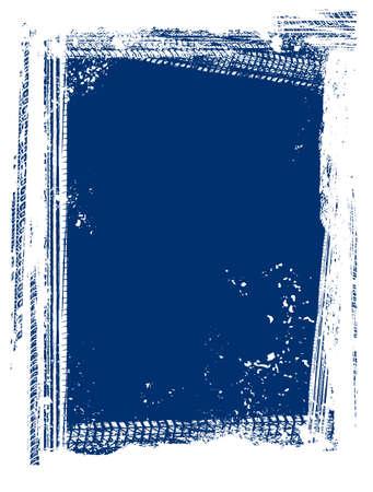 Vector automotive tire tracks frame background. Grunge winter skid marks backdrop for vertical poster, digital banner, flyer, booklet, brochure cover design. Editable image in white, blue colors