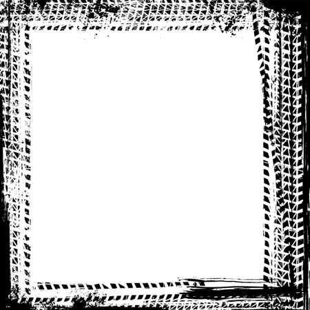 Vector automotive tire tracks frame background. Grunge skid marks backdrop for poster, digital banner, flyer, booklet, brochure, web design. Editable graphic image in white and black colors