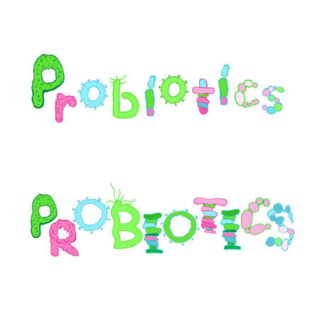 Probiotics lettering. Biological bacteria font with microbes, germs. Unique hand drawn type face for microbiology design. Editable vector illustration in blue, green, pink colors on white background