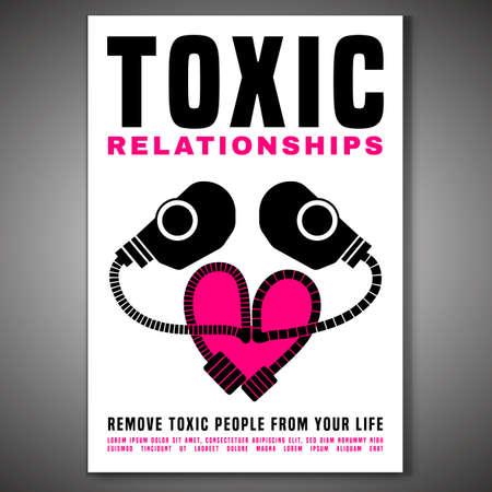 Poster verticale di relazioni tossiche. Modificabile illustrazione vettoriale isolato in rosa, colore nero su sfondo bianco. Comunicazione, psicologia e concetto di comportamento delle persone. Progettazione grafica creativa