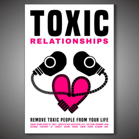 Toxic relationships vertical poster. Editable isolated vector illustration in pink, black color on white background. Communication, psychology and people behavior concept. Creative graphic design