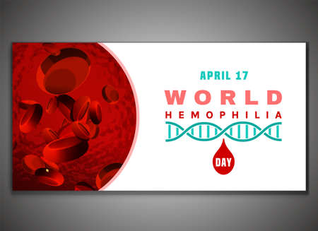 April 17 - World hemophlia day. Horizontal poster, print, web banner or leaflet creative design. Editable vector illustration in red, pink and white color. Medical, healthcare and educational concept 向量圖像