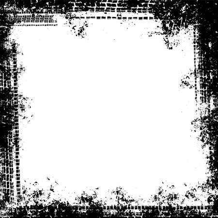 Vector automotive tire tracks frame background. Grunge skid marks backdrop for poster, digital banner, flyer, booklet, brochure, web design. Editable graphic image in white, black colors Archivio Fotografico - 125294257