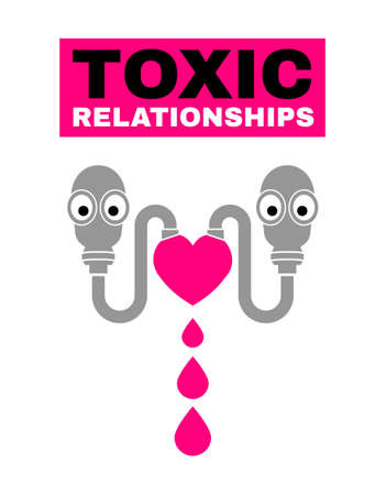 Toxic relationships poster. Editable isolated vector illustration in black, grey, pink color. Communication, psychology, people behavior concept for pictogram, logotype, icon, symbol or sign design